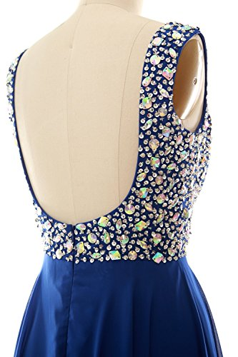 MACloth Women Straps Crystal Chiffon Long Prom Wedding Party Dress Evening Gown Dark Navy