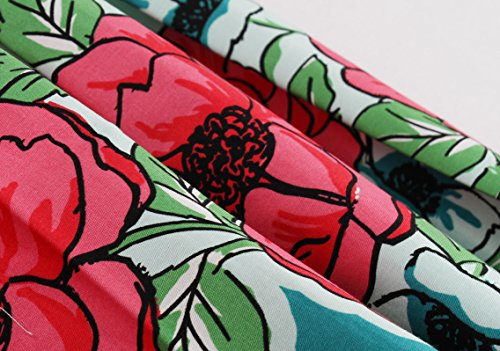 VKStar® Damen 50s Vintage Retro Rockabilly kleid Blumen Kleid Sommerkleid Cocktailkleid Swing Kleid Hellblau L - 5