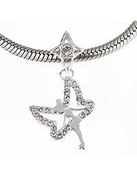 Soulbead - Colgante de Campanilla de plata de ley 925, cristales australianos para pulsera de cuentas compatible