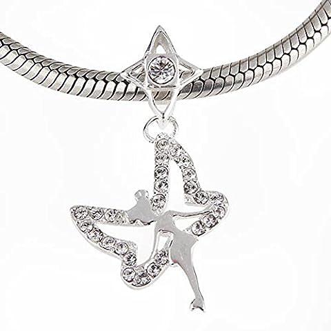 Pendente Fata Trilli Campanellino in Argento Sterling 925Bead con cristalli trasparenti pietra ciondolo per bracciale Pandora