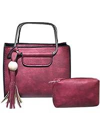 Tomtopp 2pcs/Set Women PU Tassel Shoulder Wallet Messenger Composite Clutch Handbag