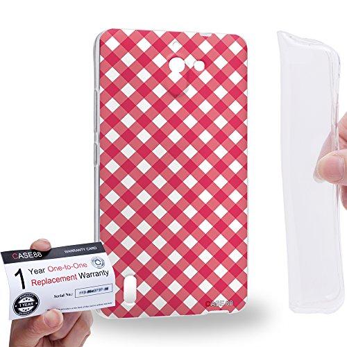 Case88 [Huawei Ascend G628] Gel TPU Hülle / Schutzhülle & Garantiekarte - Art Coloured Doodle Patterns Pink Checker Art1406 Checker Tpu Gel
