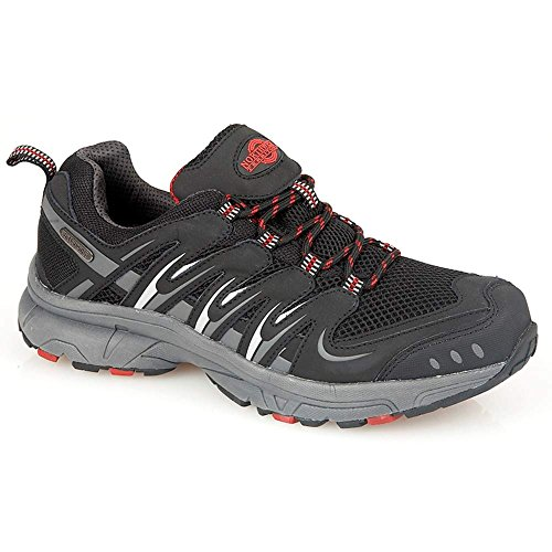 MENS FULLY WATERPROOF LACE UP WALKING HIKING TREKKING BOOTS OUTDOOR WATERPROOF TRAINERS GYM SPORTS SHOES (9 UK, Black / Red)