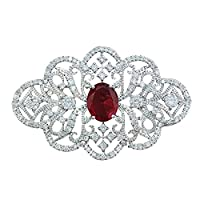 QUKE Woman Silver Tone Garnet Red Ruby Colour Cubic Zirconia Crystal Wedding Bridal Ribbon Brooch Pin
