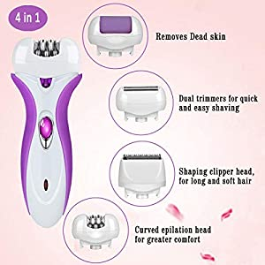 Lady Shaver, COMPATH Rechargeable Bikini Trimmer 4 in 1 Women Electric Shaver Multi-Function Electric Epilator with LED Light for Arm, Underarm, Legs, Bikini Line