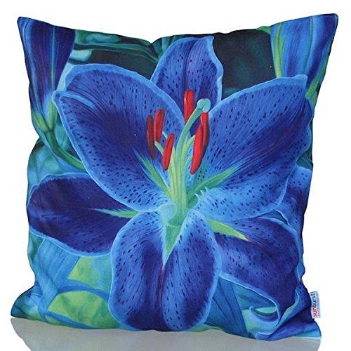 Sunburst Outdoor Living 45cm x 45cm BLUE LILY Federa decorativa per cuscini per divano, letto, sofà o da esterni - Solo federa, no interno