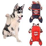 LbojailiAi Haustier Hund Welpe chinesischen Stil Tang Lucky Cats bestickt Kostüm Overall Kleidung