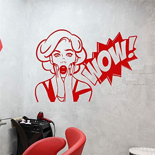 zhuziji Vinyl Wall Decal Mädchen Wow Wort Mädchen Gesicht Aufkleber Art Decor Home Decor abnehmbare niedliche Wandtattoos Wand Stick rot 70x101cm