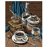 Peinture à l'huile de bricolage par des nombres exquis cafetière nature morte toile décoration de mariage Art photo cadeau-With frame