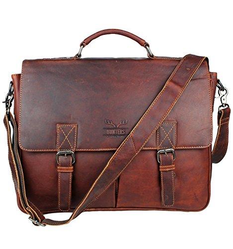 Schompi Vintage Herren Aktentasche Umhängetasche Lehrertasche Ledertasche Leder Messenger Bag Vintage Braun, Farbe:Braun (Tan Leder Aktentasche)