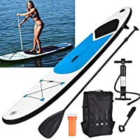 GEEZY Inflatable 305cm SUP Stand Up Paddle Board Surf Board with Adjustable Paddle, Ankle Strap, Pump & Carry Bag