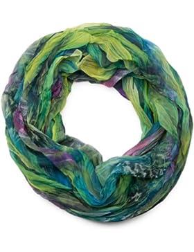 styleBREAKER patrón de la pluma del estilo del batik bufanda tubo de bucle, el desplome y la arruga, sedoso y...