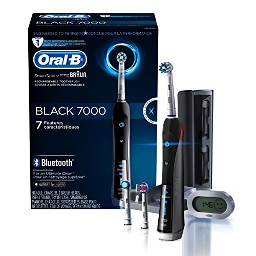 Electric Toothbrush, Oral-B Pro 7000 SmartSeries Black Electronic Power Rechargeable Toothbrush with Bluetooth Connectivity Powered by Braun - 7000 Oral-b Braun