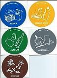 5 er SET Aufkleber für Mülltrennung Mülltonne Abfalltonne Mülleimer Abfalleimer
