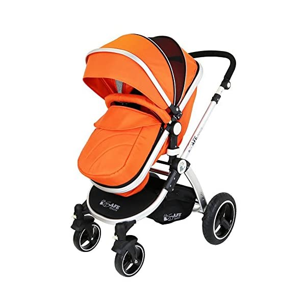 i-Safe System - Orange Trio Travel System Pram & Luxury Stroller 3 in 1 Complete with Car Seat iSafe ABSOLUTELY 100% SATISFACTION GUARANTEE! With Manufacturers 12 Months Warranty*super Amazing Quality! One Of The Very Best Pram Systems In The UK! A Truly State Of the Art Product Built With The Parent And Baby In Mind! Complete With Boot Cover, Luxury Liner, 5 Point Harness, Shopping Basket With Closed Ziped Top, High Quality Luxury Car Seat High Quality Rubber Inflatable Wheels With The Full All around Soft Suspension For That Perfect Unrivalled Ride. 3 in 1 Stroller / Pram Extremely Easy Conversion To A Full Size Carrycot For Unrivalled Comfort 2