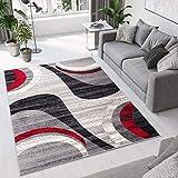 TAPISO Dream Tappeto Camera Soggiorno Salotto Moderno Grigio Rosso Crema Astratto A Pelo Corto 130 x 190 cm