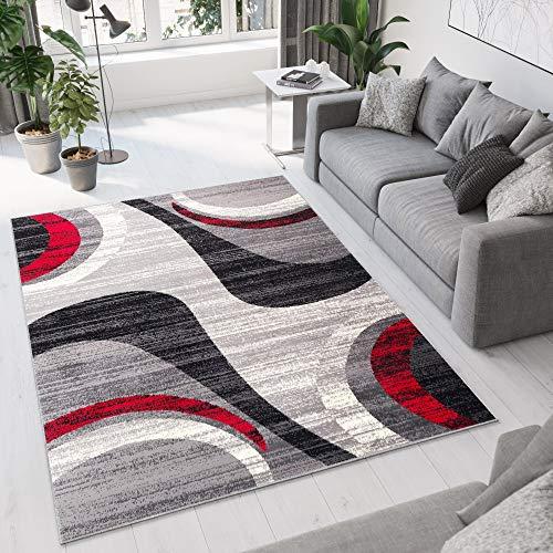 TAPISO Dream Tappeto Camera Soggiorno Salotto Moderno Grigio Rosso Crema Astratto A Pelo Corto 140 x 200