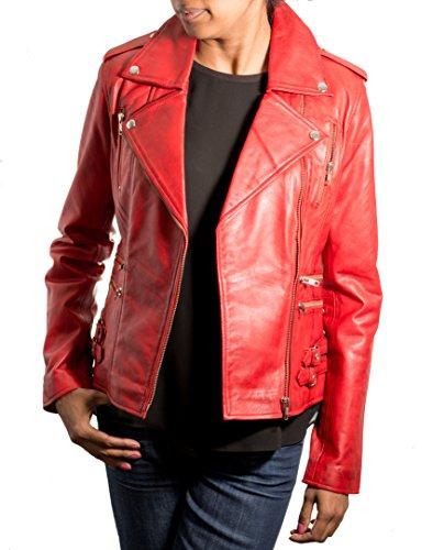 Veste de moto en cuir vŽritable en cuir vŽritable avec fermeture ˆ glissire croisŽe, boucles et boutons stud. Rouge