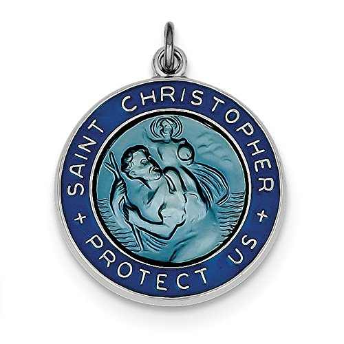 IceCarats Designer Jewellery Sterling Silver Enameled St. Christopher Medal In 26 Inch