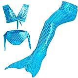 Starjerny 3PS Mädchen Meerjungfrauen Bikini Set Schwimmanzug Badeanzüge Bademode Kostüm Cosplay Meerjungfrauenschwanz für Schwimmen Kinder 6-15 Jahre Farbewahl (110cm (6-7 Jahre), Blau)