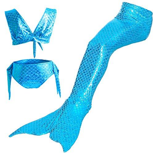 Starjerny 3PS Mädchen Meerjungfrauen Bikini Set Schwimmanzug Badeanzüge Bademode Kostüm Cosplay Meerjungfrauenschwanz für Schwimmen Kinder 6-15 Jahre Farbewahl (120cm (8-9 Jahre), Blau) (Cosplay Kostüme)