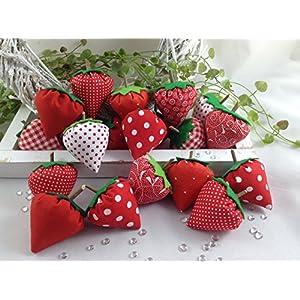 6 süße rote Stoff-Erdbeeren