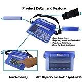 [ 2 Pack ] Ipow Wasserdichte Tasche Beutel Hülle Unterwassertasche Bauchtasche vollkommen für iPhone, Handy, Kamera, iPad, Bargeld, Dokumente vor Wasser schützen (schwarz+ blau) -