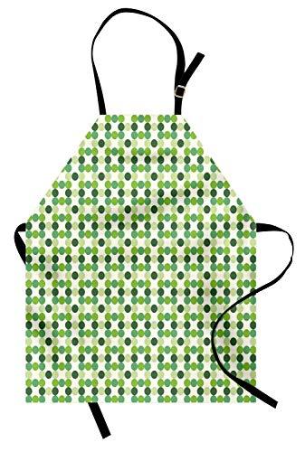 Grüne Schürze, Kreise aus verschiedenen Tönen, Schattierungen und Tönungen aus grünem Retro-Stil, geometrisches Muster, Unisex-Küchenschürze mit verstellbarem Hals zum Kochen, Backen, Gartenarbeit, gr
