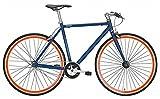 Nostalgie Rennrad Fixie Forelle BLAU 28/53 1-Gang Freilauf blau/orange