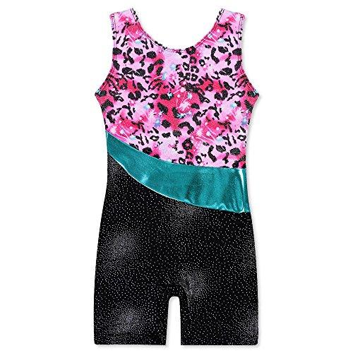 HUANQIUE Ärmellos Gymnastik Turnanzug Mädchen Leotard Body Kinder Leopard 150 (Trikot Leopard Kostüme)