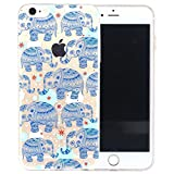 iPhone 5SE Case,3H iPhone 5/5SE Case HD Pattern Elastic Translucent Silicone Shock-Absorption Soft Gel TPU Bumper Back Cover Skin Protective Case for iPhone 5/5SE (Blue Elephant)