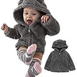 Tomasa Winter warme Jacke, Baby Outwear Hoodie Jacke, Feste Reißverschluss warme Mäntel,Jungen Mädchen Dicke warme Plüschjacke (Dunkelgrau, 110)