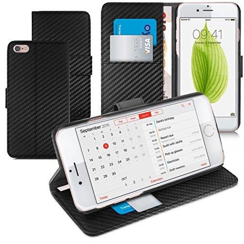 Orzly® - Multi-Functional Wallet Stand Case para Apple iPhone 6 & iPhone 6S (2014 & 2015 Versión de 4.7 Pulgadas Modelo) - FUNDA con PORTFOLIO más SOPORTE INTEGRADO y Tapa magnética - FIBRA DE CARBONO