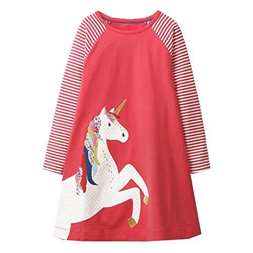 VIKITA Mädchen Kleider Streifen Langarm Baumwolle Herbst Winter T-Shirt Kleid JM7659 5T