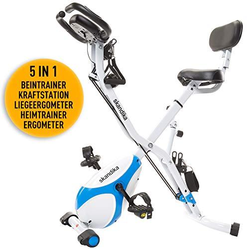 skandika Foldaway X-1000 lite/X-2000 Fitnessbike Heimtrainer X-Bike F-Bike Klappbar mit Handpuls-Sensoren - Ergometer - Hometrainer - Faltbares Fitness-Fahrrad (X-3000 Blau)