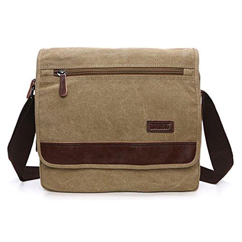 Outreo Umhängetasche Herren Aktentasche Vintage Taschen Kuriertasche Herrentaschen Retro Schultertasche Messenger Bag für Laptop Tablet Sporttaschen Reisetasche Beige
