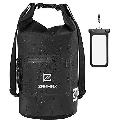 ZANMAX Borsa Impermeabile 20L Zaino Sacca Sportiva Custodia Smartphone Waterproof Dry Bag per Piscine/Nave/Trekking/Kayak/Canoa/Pesca/Rafting/Nuoto/Campeggio
