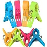 TRIXES Pack de 8 Grandes Playa Toalla Clips Brillante Color Plástico Pinzas Para Tumbona