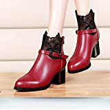 Brezeh Women Martin Boots Womens High Heels Boots Shoes Comfortable Metal Buckle Lace Chunky Boots Shoes (Red, 40)
