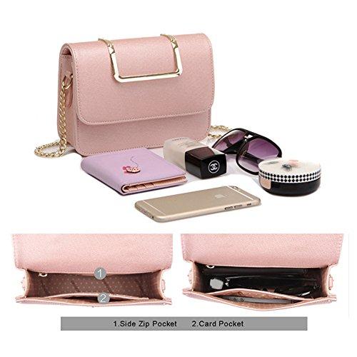 Yoome Upscale Pure Farbe Mode Klappe Tasche Kette Taschen für Mädchen Business Taschen für Frauen Leder - Schwarz Schwarz