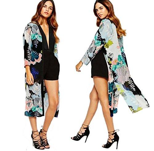Tefamore Frauen Boho gedruckt Chiffon Schal langen Kimono Cardigan Tops vertuschen Bluse (L)