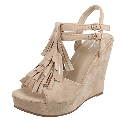 Damen Schuhe, JA62, SANDALETTEN KEIL WEDGES RIEMCHEN PUMPS Beige