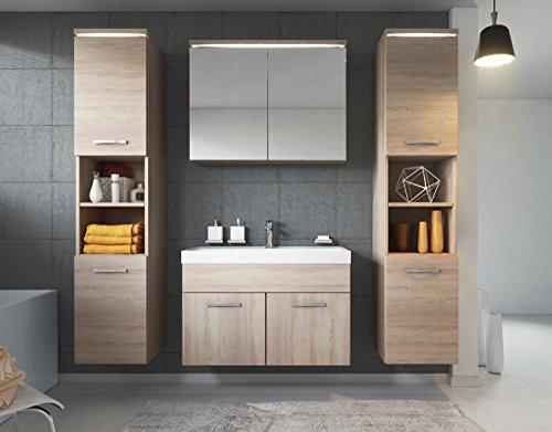 Badezimmer Badmöbel Paso XL LED 80 cm Waschbecken Sonoma Eiche - Unterschrank 2x Hochschrank Waschbecken Möbel