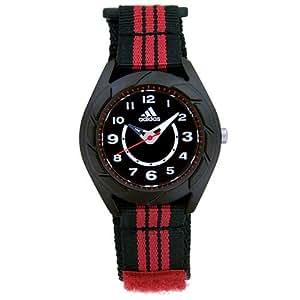 Adidas Kid - ADK1836 - Montre Enfant / Junior - Quartz Analogique - Cadran Noir - Ronde - Bracelet Tissu Noir et Bandes Rouges