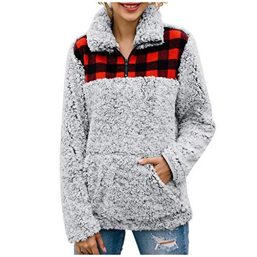YOcolour Damen Herbst Winter Sweatshirt Langarm Taschen Plaid Faux Flanell Farbblock Patchwork Pullover Shirt Tops Bluse Warme Künstliche Outwear Mantel(grau,L) - Grau Plaid Flanell