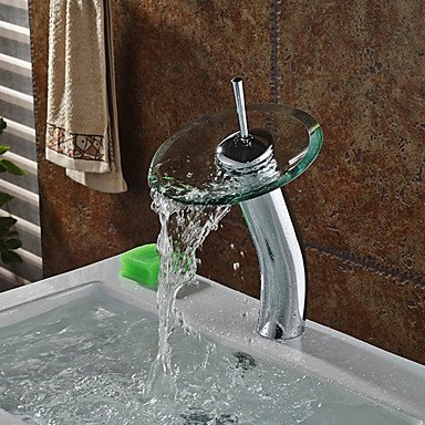 Sursy Di alta qualità elegante vaso di vetro cascata in ottone il lavandino del bagno rubinetto