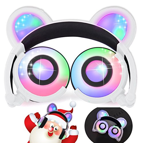 Kinder Kopfhörer, verkabelt Blink Bär Kinder Headset, Glowing Cosplay Fancy Faltbare Over-Ear Gaming Headsets mit LED-Licht für iPad iPhone iPod Tablets Android Smartphones Laptop PC MP3/4 Valentinstag Geburtstag Geschenk Ear-bud-ohr-clips