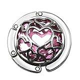 MagiDeal Kristall Herz Design Damen Handtasche Tisch Halter Handtaschenhalter Geldbörse - Rosa