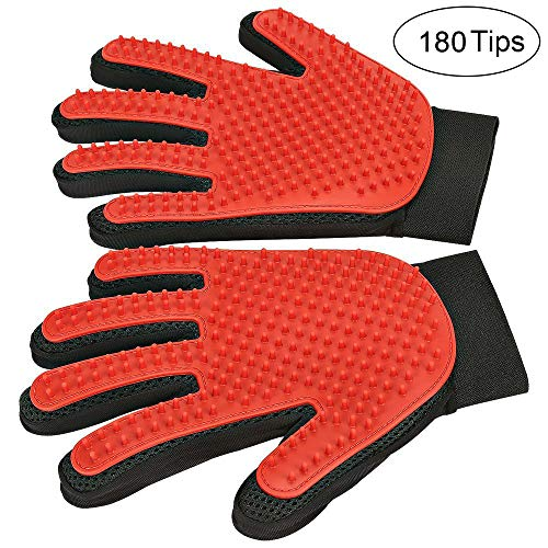 [ 2019 Upgrade ] BYETOO Pet Grooming Glove/Deshedding Brush with Enhanced Five Finger Design-Effective Cat and Dog Hair Remover Mitt-Excellent Pet Grooming Kit for Pet Hair Removal & Gentle Massage