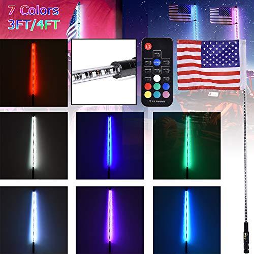 3FT 4FT beleuchtete RGB-LED-Peitschenantenne mit Fahne und Fernbedienung für Polaris RZR ATV-Peitschen-UTV-Quad-Sanddünen-Buggy-Fahnenmasten für trucks (4FT) -